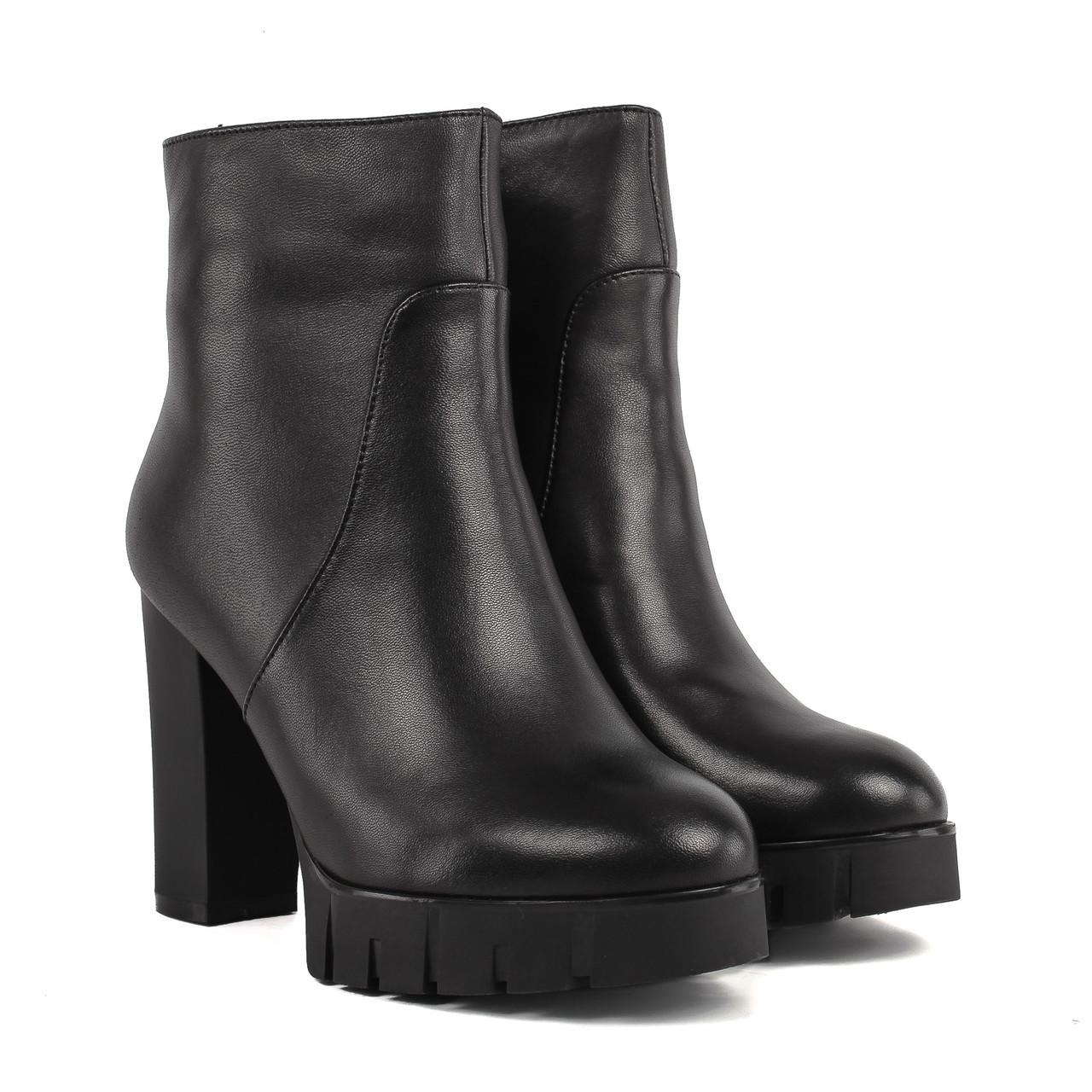 Ботильоны женские My Classic (черные, кожаные, на каблуке, модные)