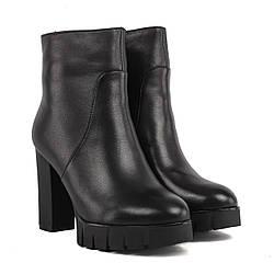 Ботильоны женские My Classic (черные, кожаные, на каблуке, модные) 37
