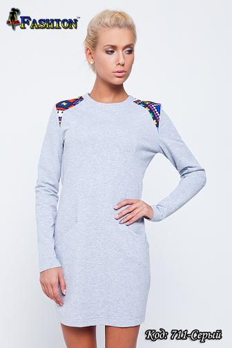 Жіноче сіре плаття з вишивкою Захват, р. M, S