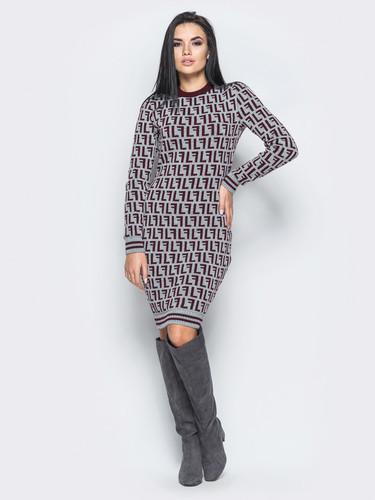 Платье из шерсти Лабиринт 40-48 бордо