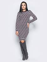 Платье из шерсти Лабиринт 40-48 бордо, фото 1