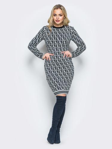 Платье из шерсти Лабиринт 40-48 серебро