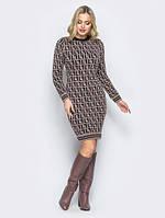 Платье из шерсти Лабиринт 40-48 капучино, фото 1