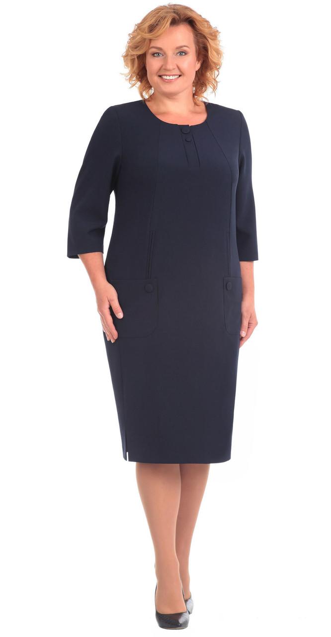 Платье Линия-Л-Б-1561/1 белорусский трикотаж, темно-синий, 54