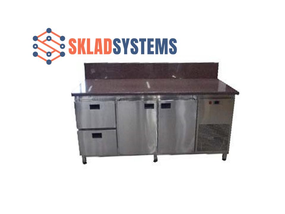 Холодильный стол с гранитной столешницей 2 двери + 2 ящика, задний борт
