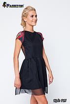 Женское чёрное платье с прозрачной спиной Лёгкость, фото 2