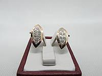 """Серьги серебряные с золотыми пластинами""""Аника"""", фото 1"""