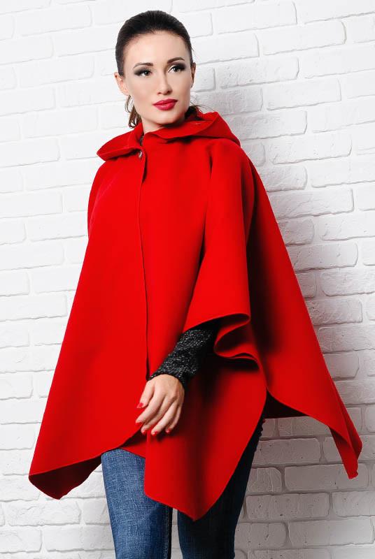 Красное пончо Мериан, с капюшоном