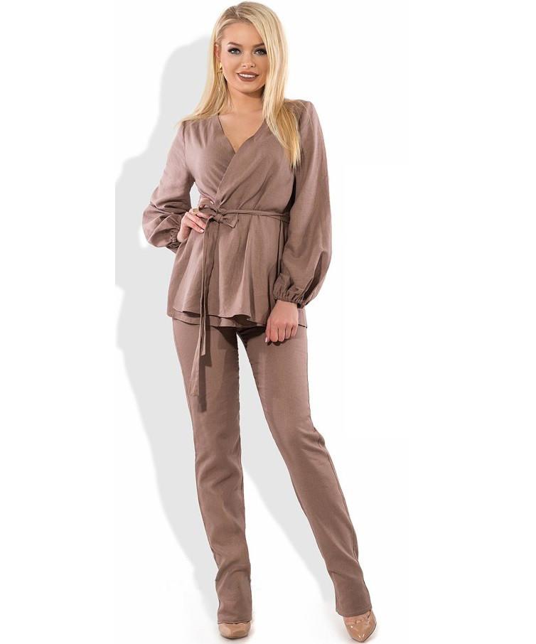 6c5e56c22b3a320 Женский брючный костюм из льна КТ-272 - KORSETOV - Магазин женской одежды и  белья