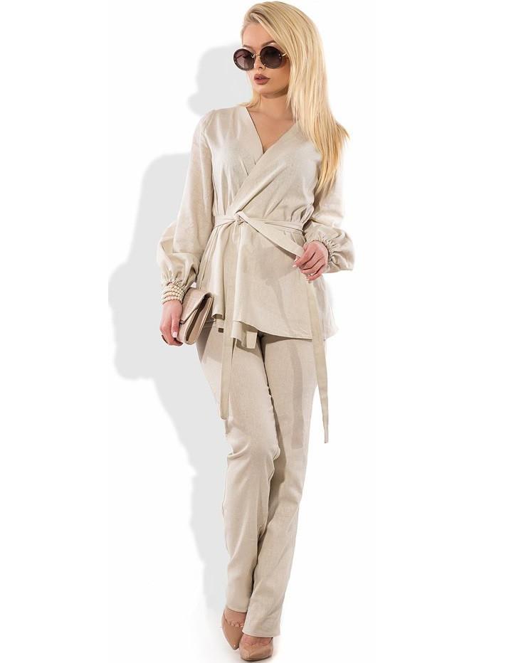 03a5d7e8cfc41ce Женский брючный костюм из льна КТ-271 - KORSETOV - Магазин женской одежды и  белья