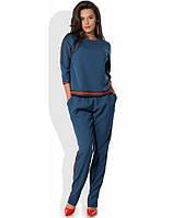 Женский синий костюм кофта и брюки КТ-268
