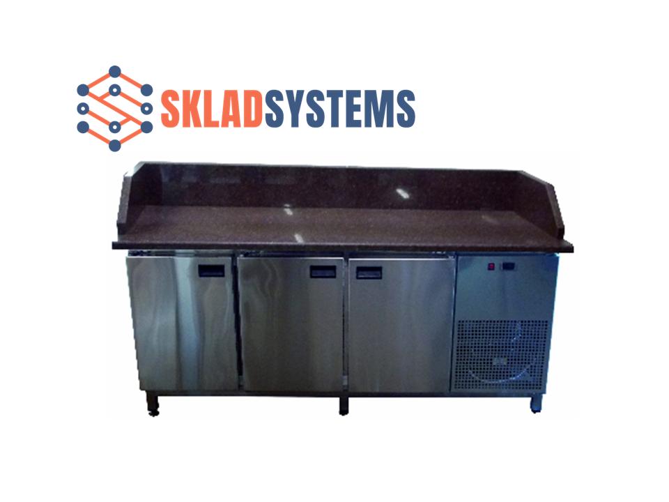 Холодильный стол с гранитной столешницей 3 двери, 3 борта