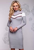 Теплое вязаное платье из ангоры под шею 42-48 размера серое