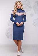Теплое вязаное платье из ангоры под шею 42-48 размера синий с кофе