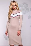Теплое вязаное платье из ангоры под шею 42-48 размера кофе с белым
