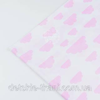 Лоскут ткани№1190  с розовыми облаками разной величины на белом фоне