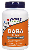 Аминокислоты NOW GABA 500 mg 100 veg caps, НАУ Габа 500 мг 100 капсул