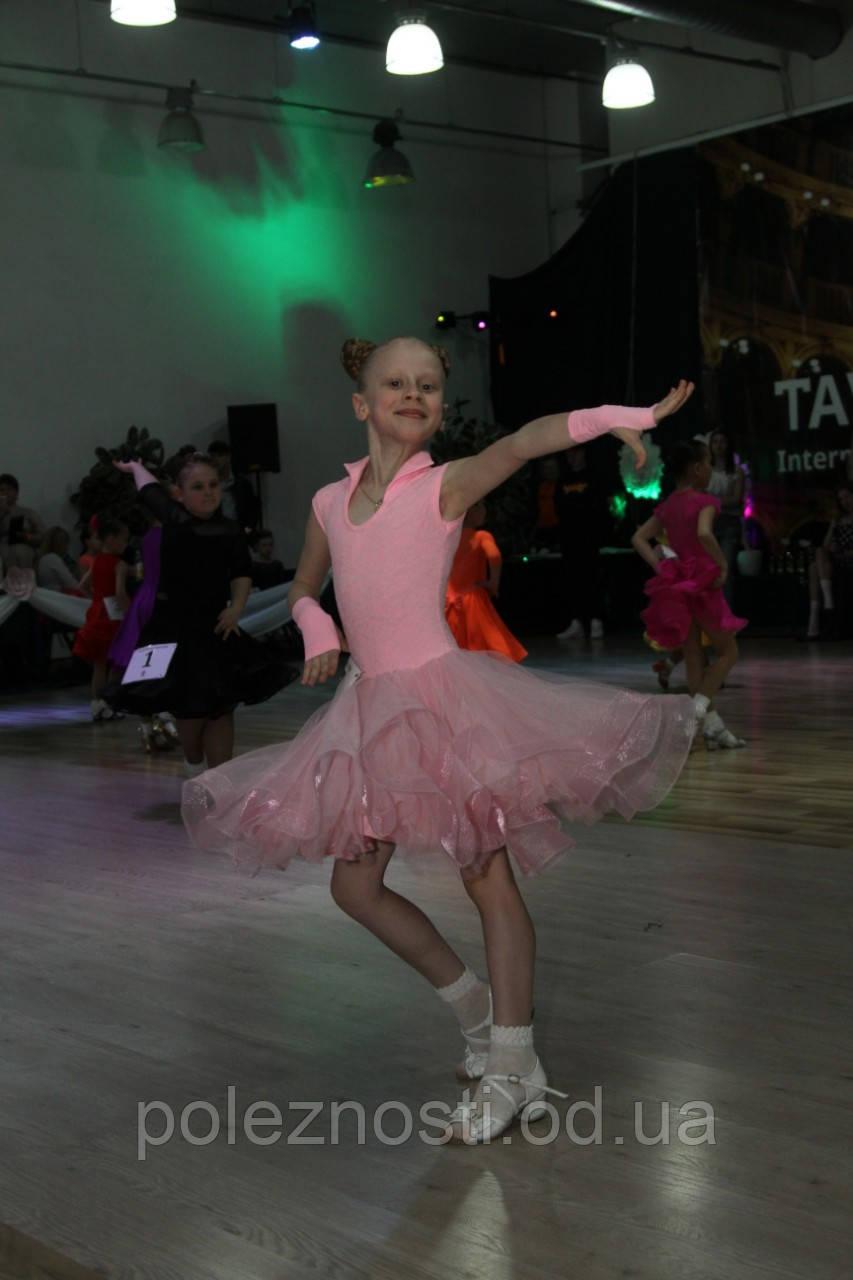 Платье для бальных танцев 120-128 рост, бейсик, нежно розовый