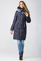 Зимняя удлинённая  куртка 18-44 , в расцветках (42-50) т-синий