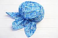 Косынка-бандана на резинке цветы синяя