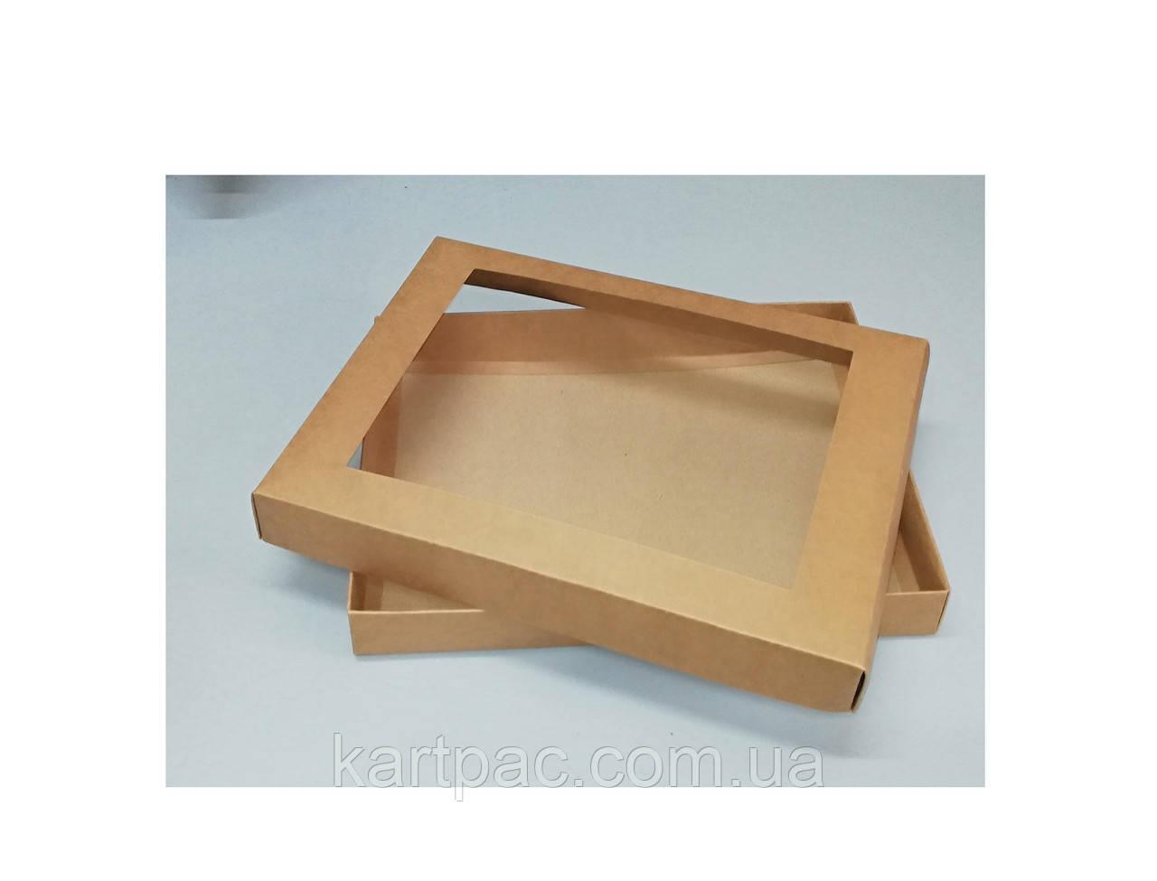Коробка экран для печенья бурая 320*240*40