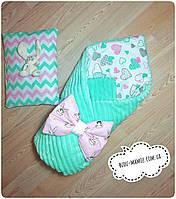 Выгодно!  2 в 1 + подарок подушка одеяло 100*90  конверт для новорожденного Зима осень Польша плюш Минки