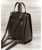 3262132cfe20 Молодежный каркасный сумка-рюкзак WeLassie коричневого цвета со вставкой  коричневый крокодил