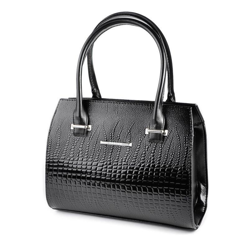 4b7cbd2527ff Черная деловая сумка-саквояж М68-14/Z лаковая с ручками - Интернет магазин