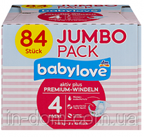 Babylove Premium Active Plus памперсы подгузники 4 Maxi 7-18 kg Jumbo Pack 84 шт - Германия