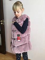 Меховая жилетка для девочки.  Детская меховая жилетка. Размеры 110-140