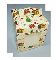 Коробка для торта, пряников, кондитерских изделий 170*170*210 мелованная елка, фото 1