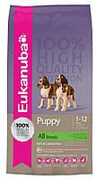 Корм для щенков с ягненком Eukanuba Puppy All breed Lamb & Rice