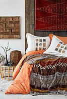 Набор постельное белье с пледом Karaca Home - Kayapo kahve 2019-1 кофе евро