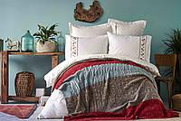 Набор постельное белье с пледом Karaca Home - Lienzo bordo 2019-1 бордовый евро