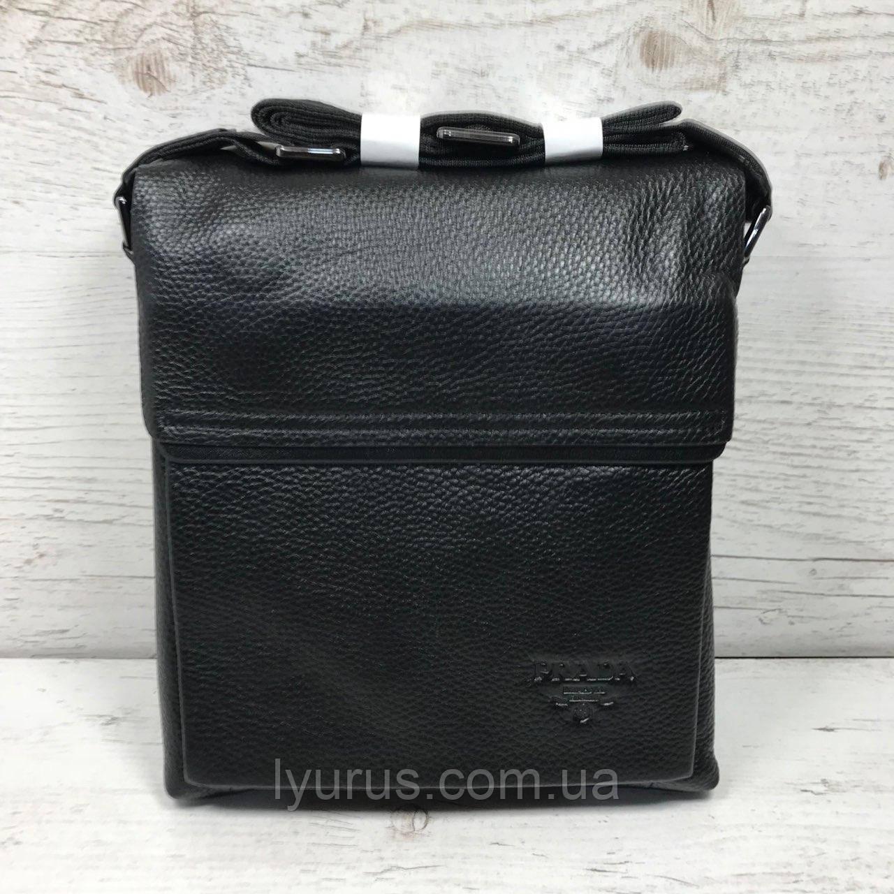 Мужская кожаная сумка мессенджер  Prada