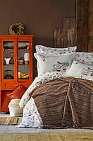 Набор постельное белье с пледом Karaca Home - Morena kahve 2019-1 кофе евро