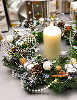 """Новогодний и рождественский венок """"Шикарный серебряный"""", фото 1"""