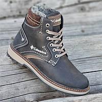Подростковые зимние ботинки для мальчика, на шнурках и молнии кожаные черные прошиты на меху (Код: Б1291)