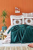 Набор постельное белье с пледом Karaca Home - Mosi Zumrud 2019-1 евро