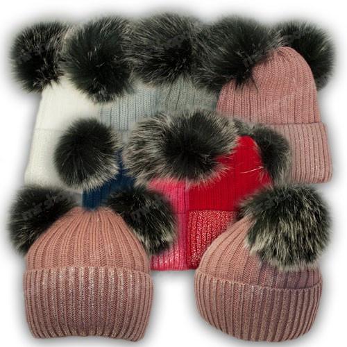 ОПТ Вязанная шапка напылением и двумя помпонами для девочки, р. 50-52 (5шт/набор)