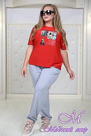 Женская футболка большого размера красная (р. 48-90) арт. Вкус
