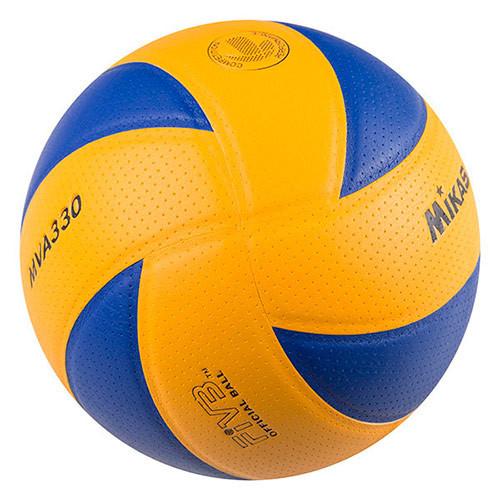 М'яч волейбольний Клеєний дублікат PU Mikasa MVA330 PU-1 жовтий з синім, помаранчевий з синім