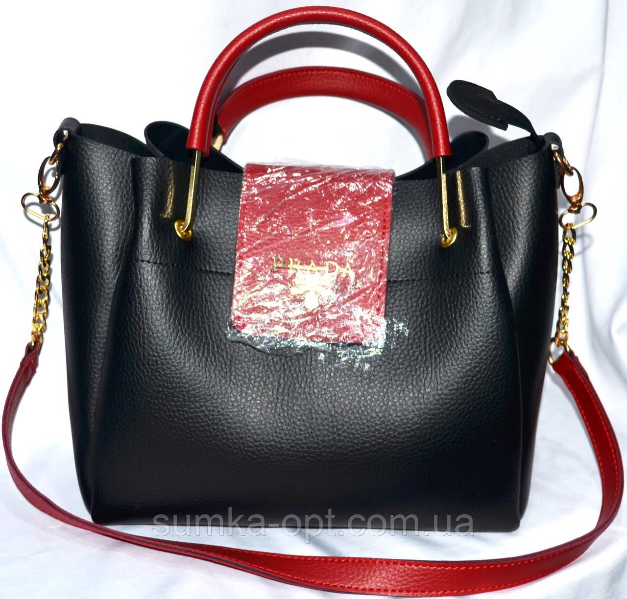 Женские брендовые сумки Prada +клатч (черный+красный)23 27см ... fe09a8f2835