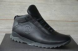 Зимние Мужские Кроссовки кожаные Level черные, серая подошва