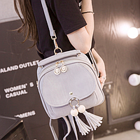 Рюкзак сумка женская с кисточкой Серый, фото 1