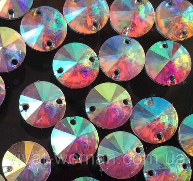 Стразы пришивные Риволи (круг) Crystal AB, 14 мм, акрил