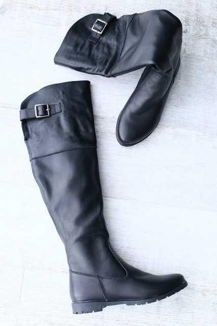 Сапоги ботфорты женские кожаные высокие деми/зима (черные)