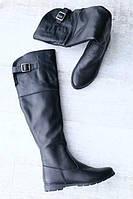 Сапоги ботфорты женские кожаные высокие деми/зима (черные), фото 1