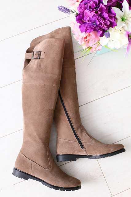 Женские сапоги-ботфорты кожаные стильные высокие деми/зима (бежевые)
