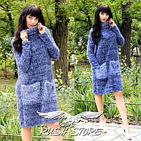 Женское теплое платье с ворсом, фото 1